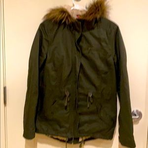 H&M Olive Green Jacket with Hood and Fleece